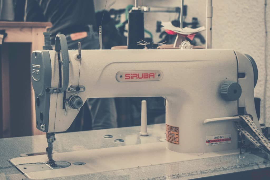industrial sewing machine-in-workshop