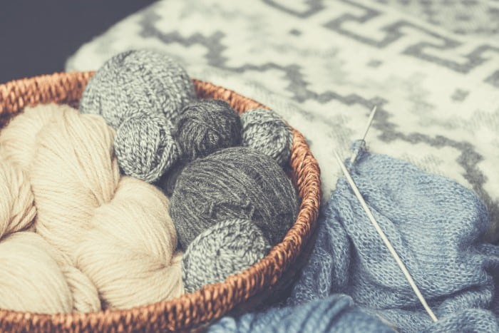 Yarn in Bowl with Knitting